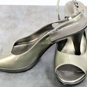 Michael Shannon Shoes - Michael Shannon Silver Peep Toed Sling Backs